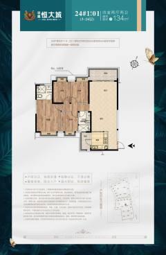 特价恒大城4室2厅2卫35万134m²出售